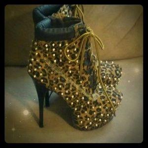 Leopard Print Stilettos Gold Studded